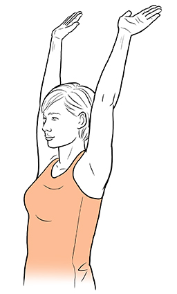 Woman with both arms raised and slightly to back.