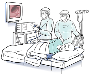 Doctor and technician performing colonoscopy on patient lying on side.