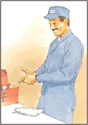 A man experiencing pain where the finger or thumb joins the palm.