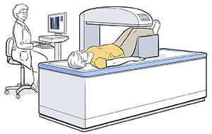 Technician preparing woman for bone density scan.